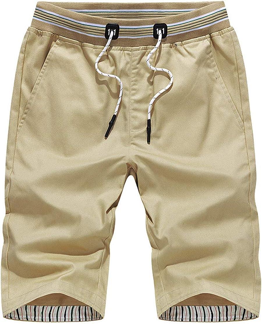 CHARTOU Men/'s Basic Sport Outdoor Elastic Waist Drawstring Cotton Beach Shorts