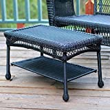 Pemberly Row Wicker Patio Coffee Table in Black