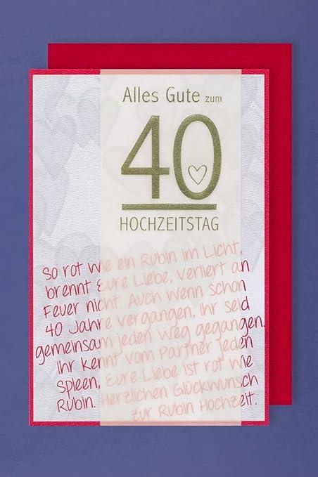 Nozze Di Rubino 40 Anniversario Di Matrimonio Carta Con Pergamena
