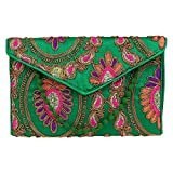 Brazeal Studio Women's Embroidered Fabric Ethnic Clutch Small Green