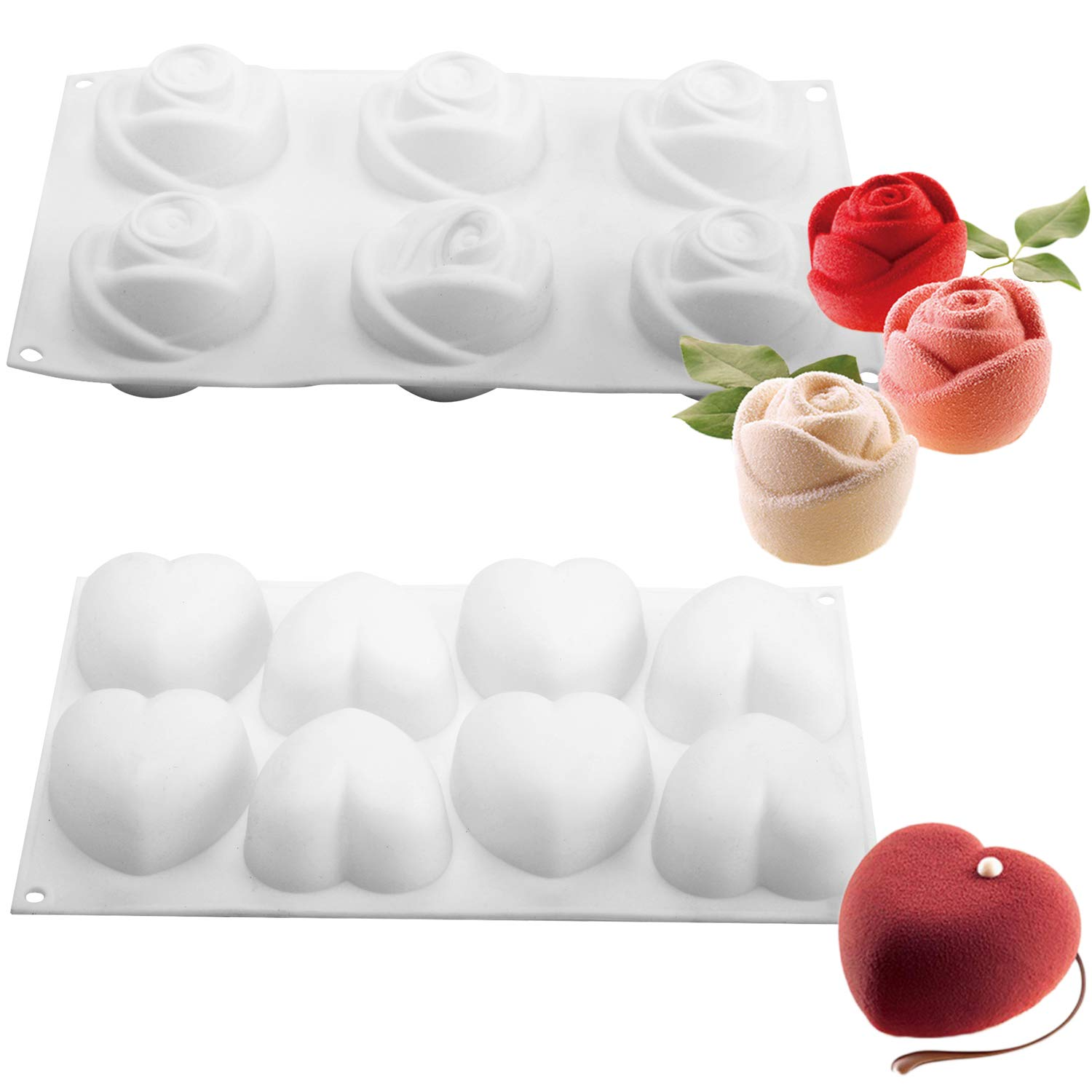 Easy Release FDA BPA Free 2pcs Silicone Mousse Cake Molds 3D Heart Rose Shape DIY Baking Pan Nonstick Bakeware Decorating Tool for Ice Cream Chiffon Chocolate Dessert Jelly Pastry Christmas