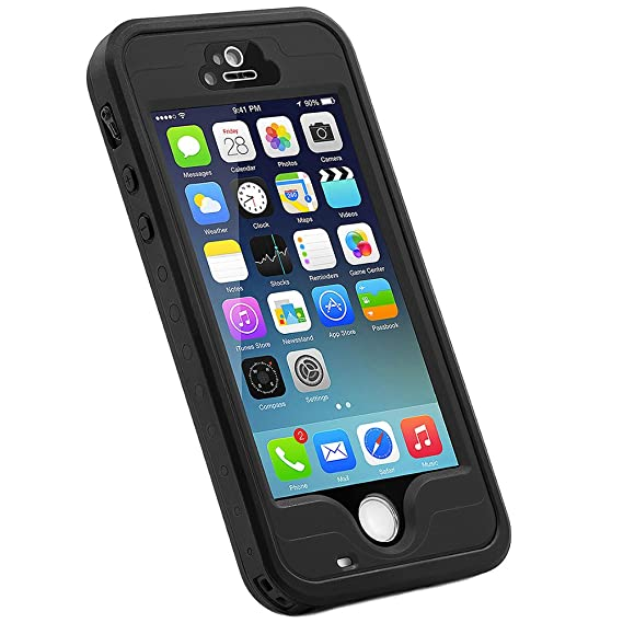 on sale ac407 8dbe2 HESGI iPhone 5s Case, 6.6 ft Underwater Waterproof Shockproof Snowproof  Dirtpoof Protection Case Cover with Touch ID for iPhone 5S/SE [Black]