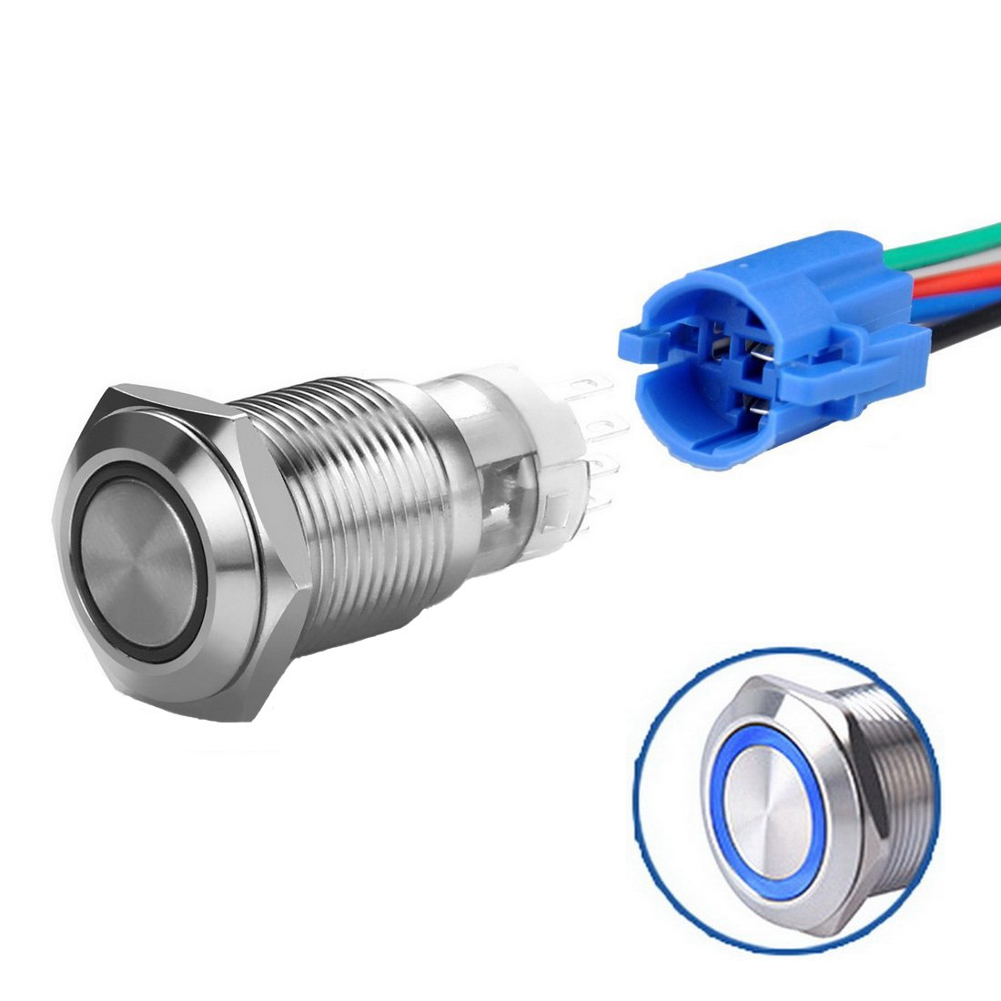 Power Indicator WerFamily 19mm Momentary Push Button Switch 1NO 1NC SPDT ON//Off Waterproof Stainless Steel Metal Round with Blue LED Angel Eye