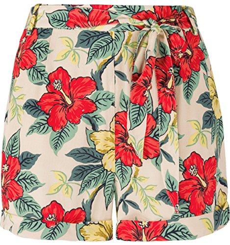 Hibiskusblüten Para Mit King Beige Pantalón Corto Mujer Louie qqxtv0wP