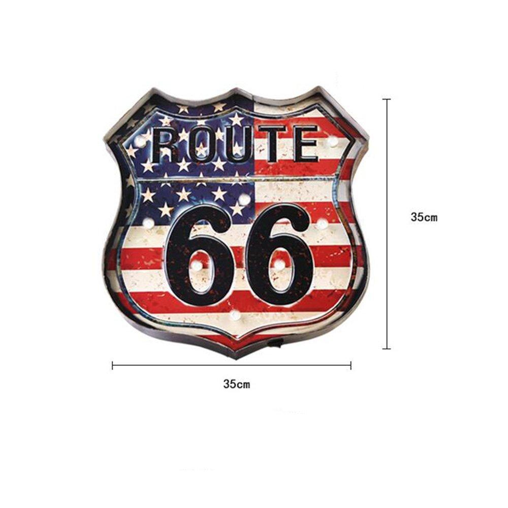 Route 66 Bandiera Modello LED Parete Decor One PCS WANGAIMA Muro di Metallo Arte LED Decorazione murale