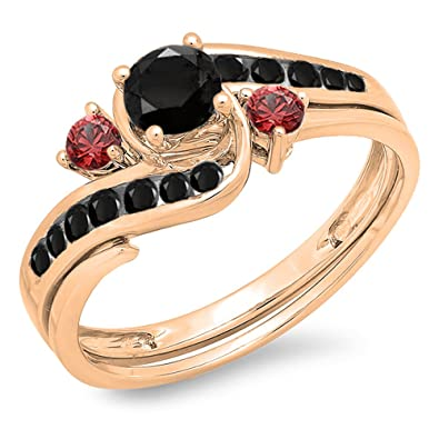 75dd40a3bc662 10K Gold Black Diamond & Red Ruby Side Stones Ladies Swirl Bridal  Engagement Ring Set