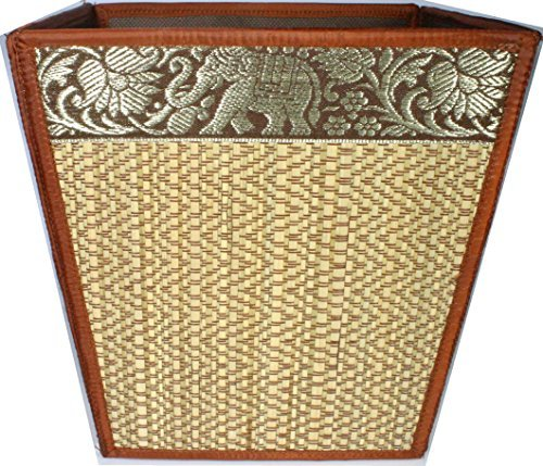 TOPMOST Handmade Thai Woven Straw Reed Wicker Square Waste Basket with Silk Elephant Design (Yellow-Brown)