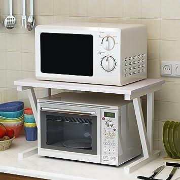 PENGFEI Estantes para Soportes Estantería Cocina Baldas Soporte De Suelo Rejilla del Horno De Microondas Multifunción, 2 Capas, 57 * 38 * 37cm ...