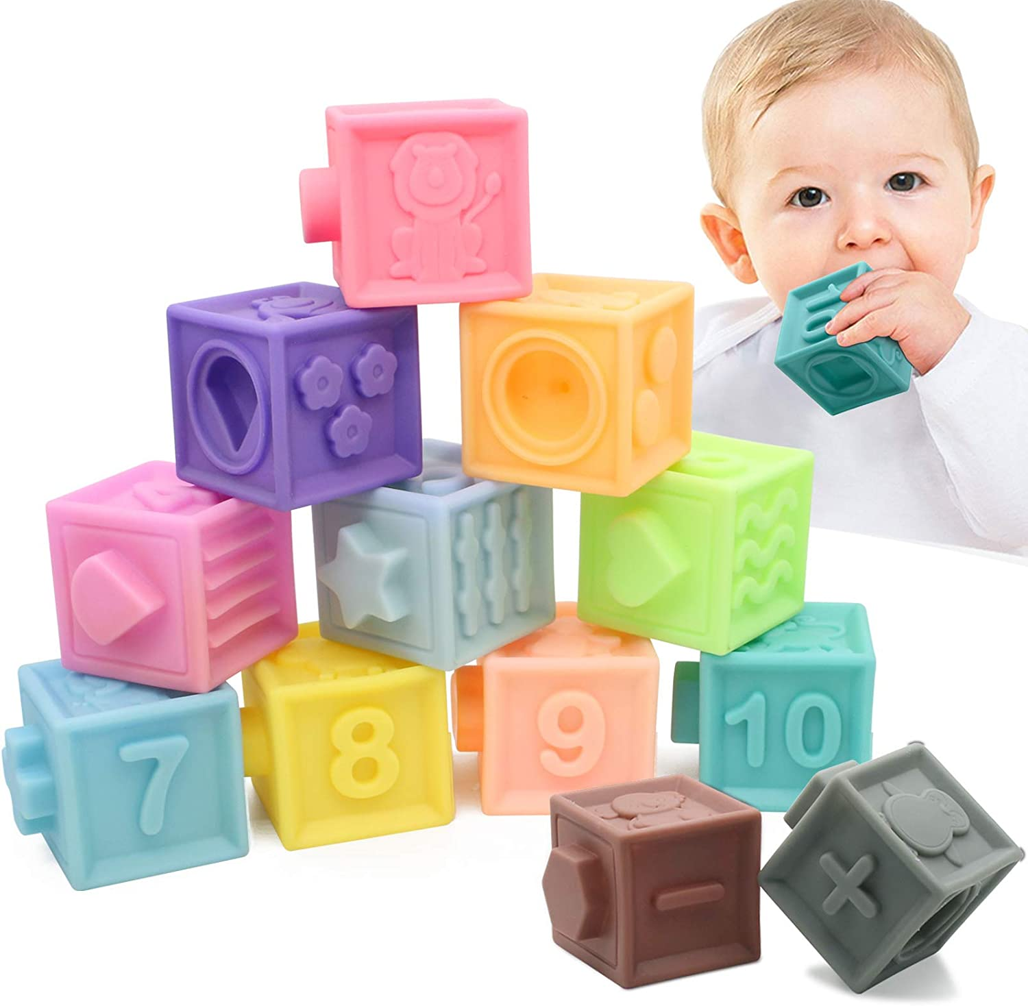 Educational Baby Toys 6 Months and up Starter Kit with Numbers Shapes BPA Free 12 Soft /& Colorful Stacking Blocks Animals /& Textures Mojoe Building Blocks for Toddlers
