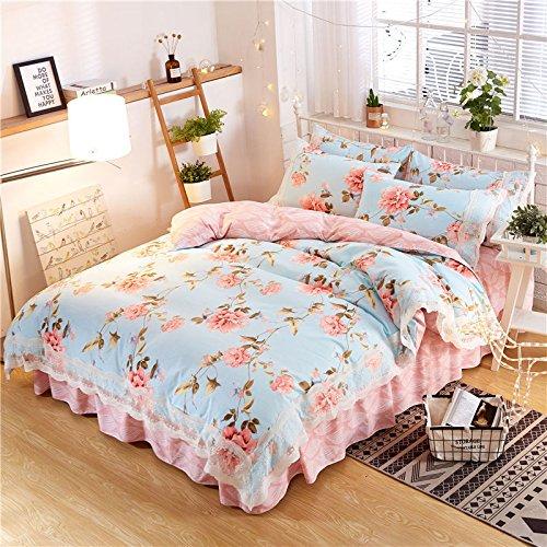 KFZ Bed Set 4pcs Bedding Set Princess Lacy Lace Bed Skirt Duvet Cover Queen Set 78