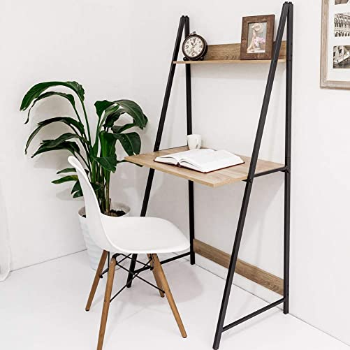 C-Hopetree Ladder Desk with Shelf – Student Home Office Computer Table – Metal Frame