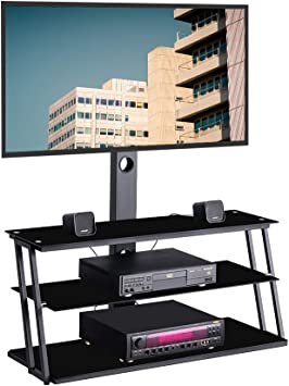GHEDA 3 Tier Glass TV Stand with Swivel Mount,Height Adjustable for 32 37 42 47 50 55 60 65 inch Plasma Flat or Curved Screen Television,TV Base Bracket with 3 Layers Media Storage for Xbox,PS4