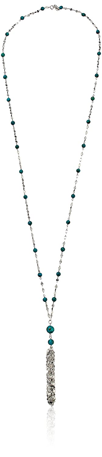 Sterling Silver Synthetic Compressed Turquoise Mirror Chain Y-Shaped Necklace, 32.5 32.5 Amazon Collection T348331TQG