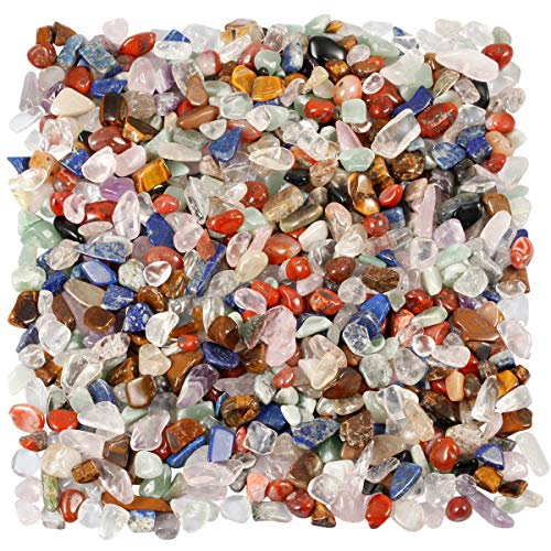 TUMBEELLUWA 1LB Chips Tumbled Stones Crushed Reiki Irregular Shaped Healing Crystal Quartz Decoration,Chakra -