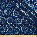 Benartex 0563579 Kanvas Blue Brilliance Shimmer Swirl Metallic Navy Fabric by The Yard