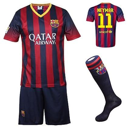 177c2fd0bd8 2013 2014 FC Barcelona Home Neymar  11 Football Soccer Kids Jersey with  FREE Shorts