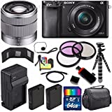 Sony Alpha a6000 Mirrorless Digital Camera with 16-50mm Lens (Black) + Sony SEL 1855 18-55mm Zoom Lens + 64GB Bundle 15 - International Version (No Warranty)