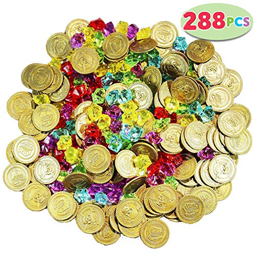 Joyin Toy 288 Pieces Pirate Gold Coins and Pirate Gems Jewelry Playset Pack Party Favor. (144 Coins+144 Gems) (Ship Mermaid And)
