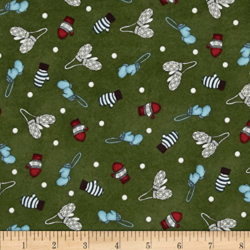 Frolic in the Snow Flannel Hats & Mittens Green Fabric By The Yard (Flannel Maywood Studios)