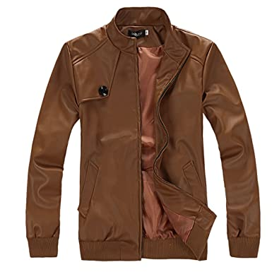 Mens Ribbed Cuff Long Sleeve Leather Look Fashion Jackets Brown S ...