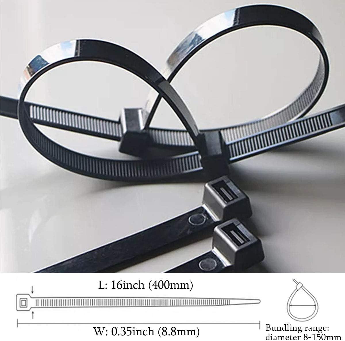 nailon Bridas para cables extra largas 100 unidades color negro bridas para cables cierre autom/ático 400 mm x 4,6 mm