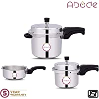 Abode Pressure Cooker Combo Pack - 2L, 3L and 5L, Aluminium (Without Induction)