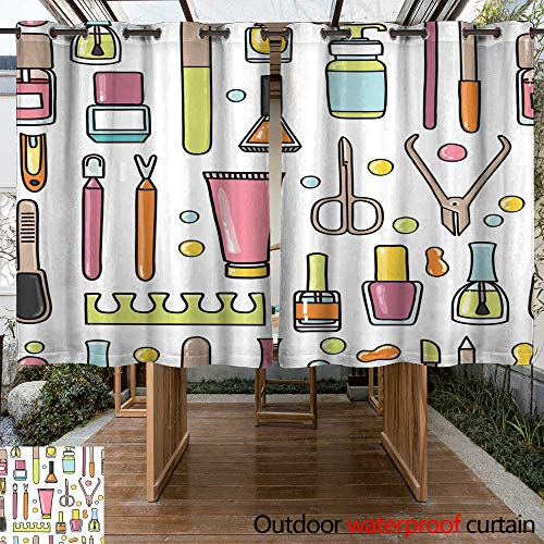 RenteriaDecor Outdoor Ultraviolet Protective Curtains Vector Seamless Pattern of Manicure and Pedicure Doodle Equipment W55 x ()