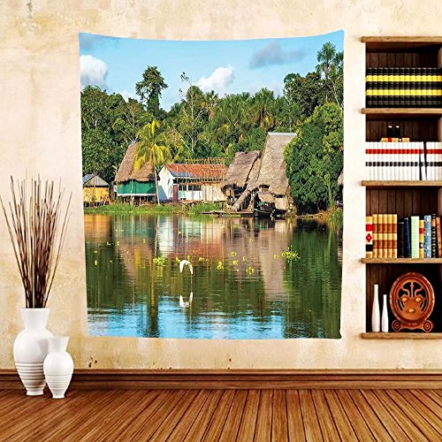Gzhihine Custom tapestry Lake House Decor Collection Tropical Amazonian Riverside Village Huts Palm Trees Sunny Day Clouds Bird Rainforest Bedroom Living Room Dorm Tapestry - Huts African Pictures