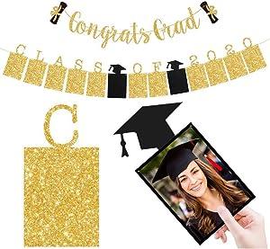 2020 Graduation Decorations - Class of 2020 Photo Banner & Congrats Grad Gold Glitter Banner - High School College Graduation Party Supplies Banner 2 Pack