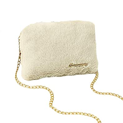 Women s Faux Fur Crossbody Bag Shoulder Bag with Chain Strap Fluffy Evening  Clutch Handbag (Beige)  Handbags  Amazon.com 48a6a659a4c7d