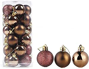 feng biao Christmas Ball Pendant, Decorative Shatterproof Christmas Tree Pendants Hanging 40mm Christmas Baubles Balls Ornaments Set Pack of 24 pcs (Coffee)