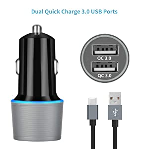 USB C Fast Charger Kit, Compatible for Samsung Galaxy S9/S9 Plus/S10/S10+/S10e/S8/S8+/Note 9/Note 8, Quick Charge 3.0 Charger Set, Dual USB Rapid Car Charger + Wall Charger with 2 Type C Cords 3.3ft (Color: black, gray, Tamaño: 3.3ft)