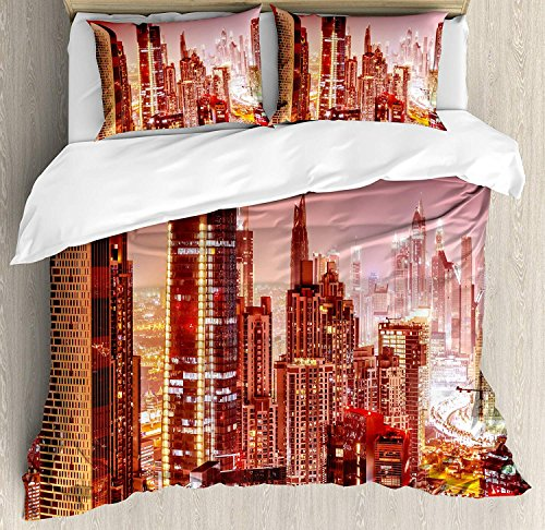 Twin Size Cityscape 4 piece Duvet Cover Set Bedspread, Dubai at Night Cityscape with Tall Skyscrapers Panorama Picture Arabian Peninsula, 4pcs Bedding Set for Kids/Childrens/Adults Decor, Multicolor by SunShine Day
