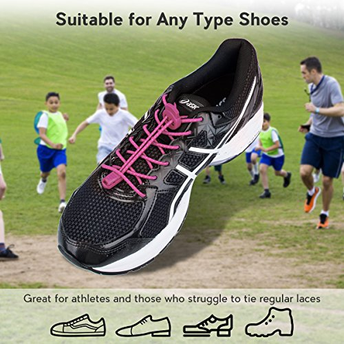 Lacing Running Running for Tie Pink System Laces Elastic Shoes Shoelaces Quick Shoe Climbing Lock Reflective with 3 Pairs Hiking and Kids Adults No for OFqwHTR