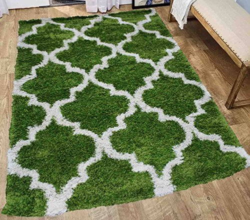 New Shag Shaggy Soft Fluffy Fuzzy Furry Modern Plush Contemporary Decorative Designer Area Rug Carpet Bedroom Living Room White Green 8x10 Sale Cheap Discount Polyester ( Popular 513 Green )