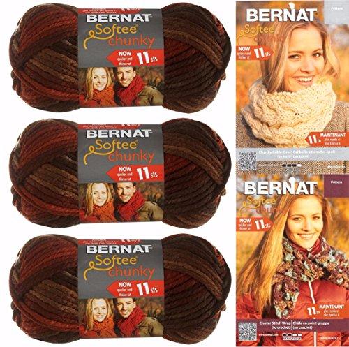 Bernat Softee Chunky Yarn Bundle Super Bulky 6, 3 Skeins, Terra Cotta (Yarn Terra Cotta Mist)
