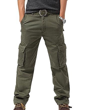 Feoya Herren Arbeitshose Wasserwäsche vintage Cargohose Mehrere Tasche  Hosen aus Baumwolle Trekkinghose Loose-Fit Outdoor Freizeithose  Amazon.de   ... bbf27776b3