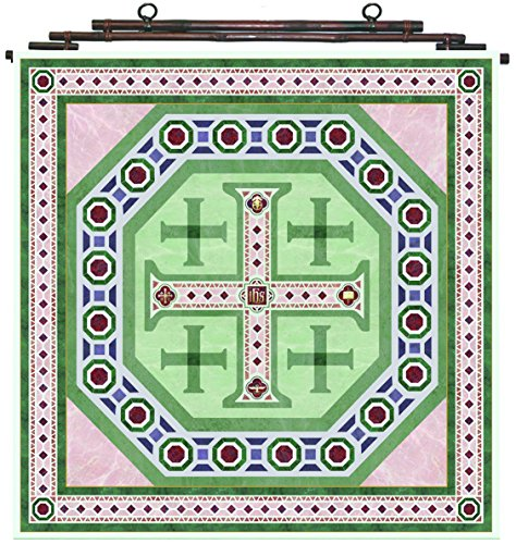Christian Silks Scarf Jerusalem Cross Design in Green, Rose, and Burgandy, Square (35