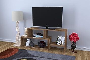 Meuble Tv Design Clover Motif Bois Noyer Marron Fonce Amazon Fr