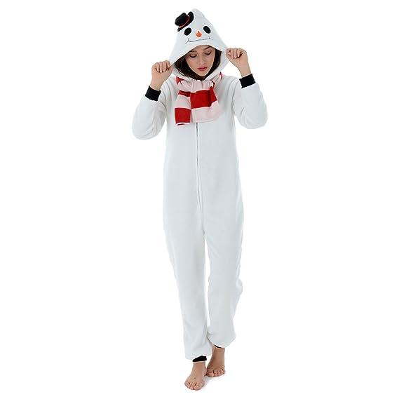 b50a5d51cf Autumn Faith Womens Frosty The Snowman Fleece All in One Pyjamas with Hood  Ladies Christmas Novelty