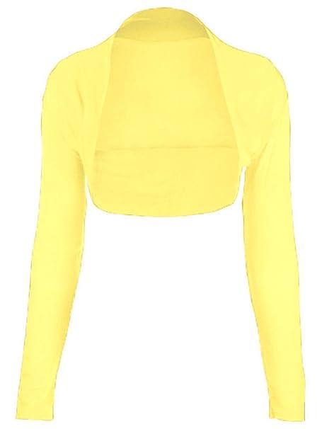 FK Styles - Bolero de viscosa, de manga larga, para mujer, monocolor Amarillo