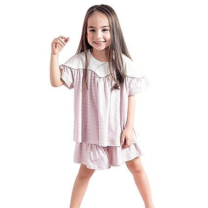 Pijamas Conjunto de Pijamas de Verano para Niñas Pijama de Niña de Algodón Chicas de Manga