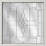 Geometric Decorative Glass Fixed Windows, 47.5 in. x 47.5 in., White, Frame Victorian PE Privacy Nickel Caming Glass