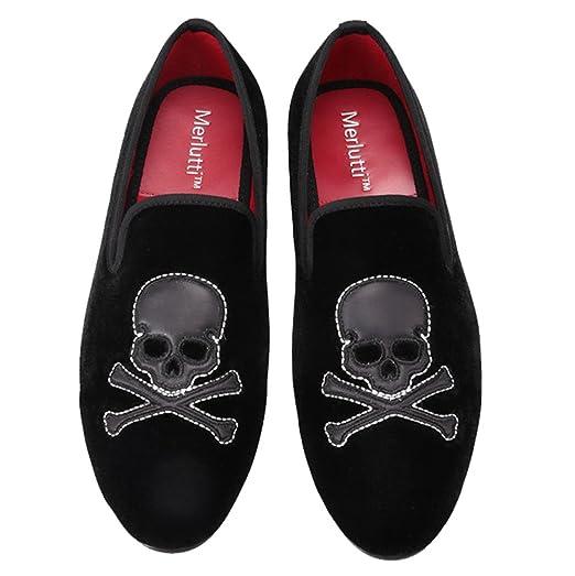 Black Velvet Slip-on Skull Embroidered Black/Red