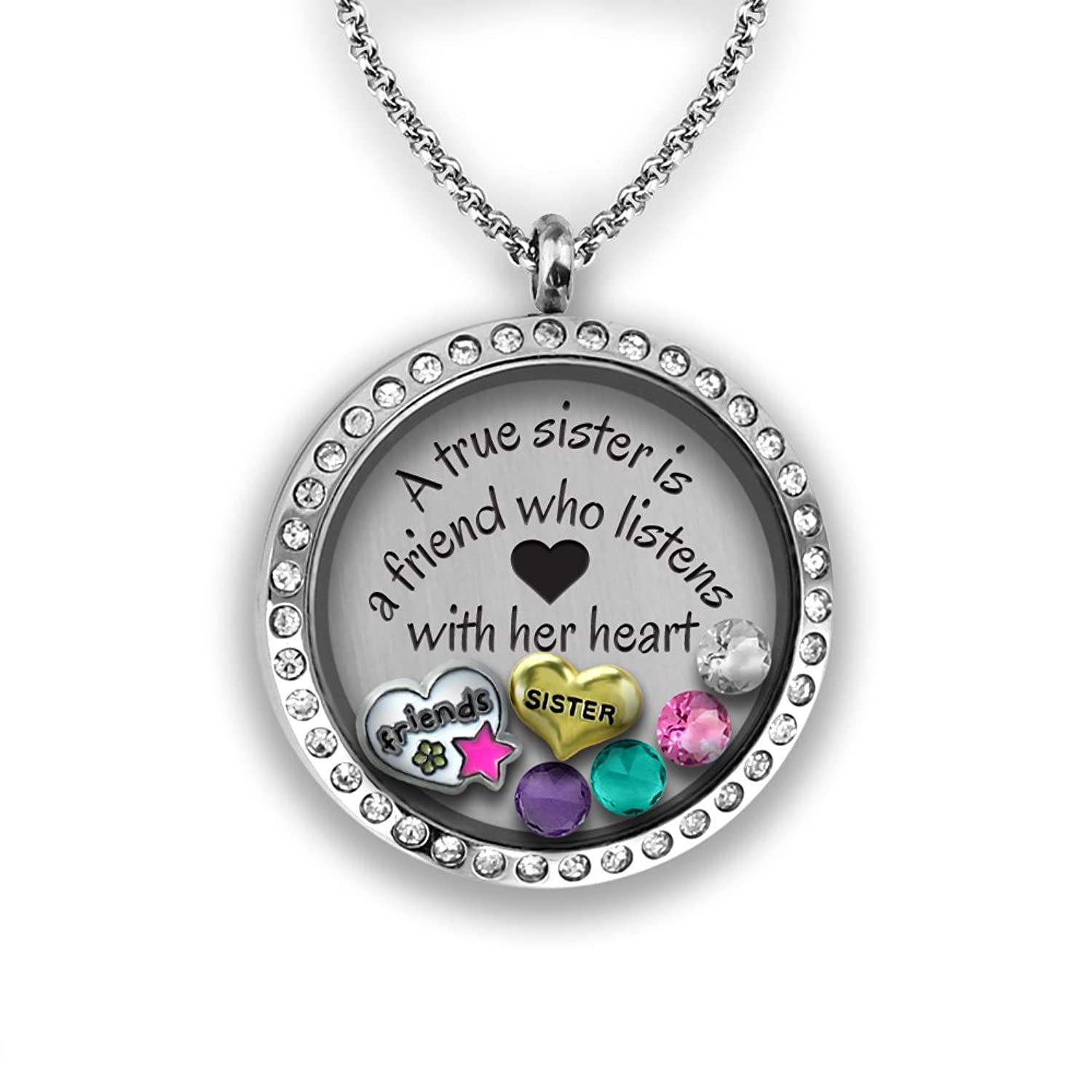 pbx silver heart grandma split jewelry uec granddaughter bling necklace set grandmother lockets heartpendant