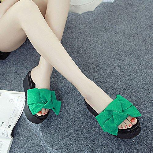 Donne Spiaggia Dimensioni cn39 Sandali Scarpe Haizhen Da Di Delle Verde Nero uk6 Femminili verde Pantofole Donna Eu39 Feste Modo Le Verde Per colore 7cm nFaxzHq