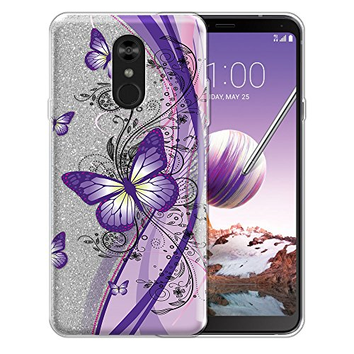 WIRESTER Case Compatible with LG Stylo 4, Shiny Sparkling Silver Bling Glitter TPU Protector Cover Case for LG Stylo 4 - Clear Pink Purple Butterfly ()