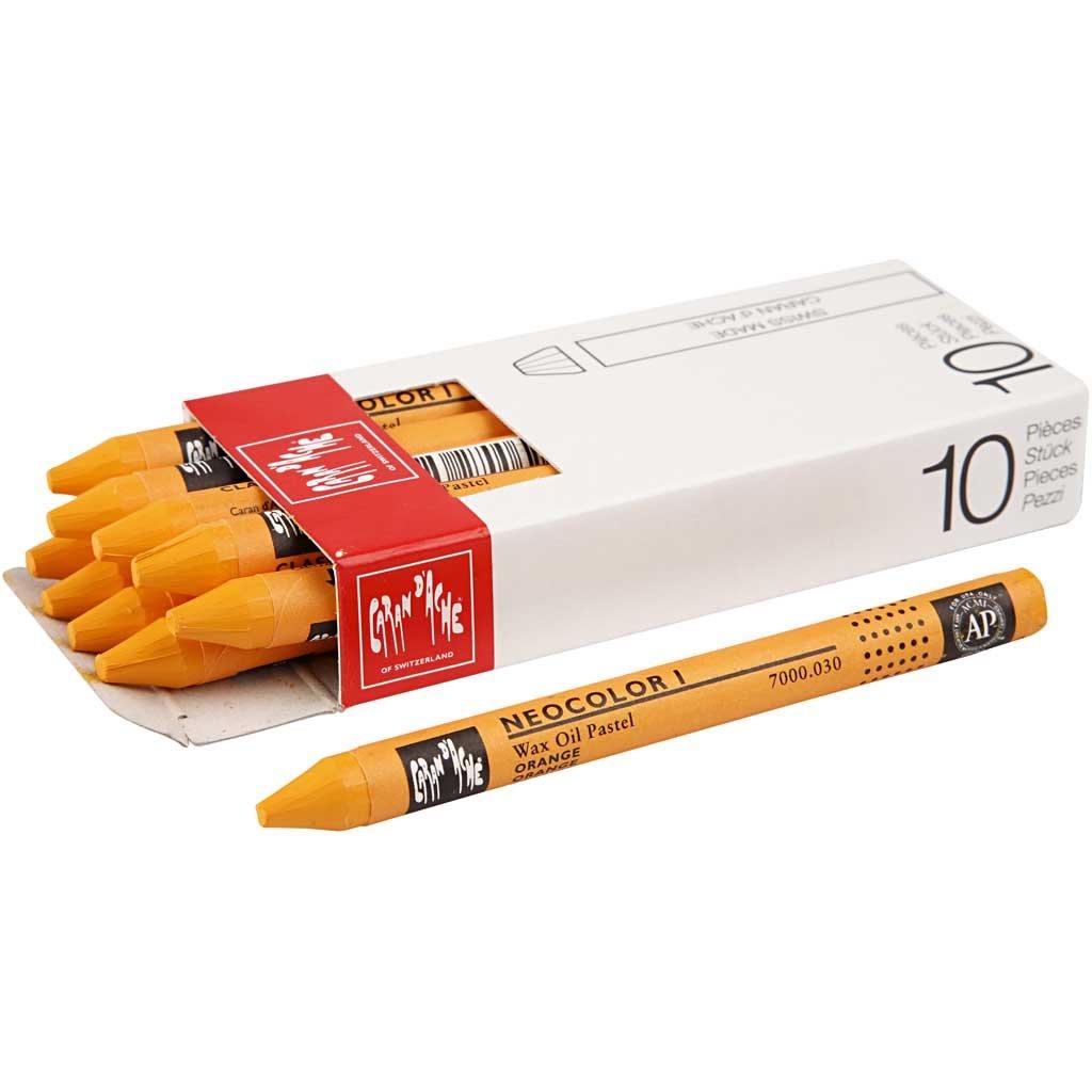 Neocolor I, spess. 8 mm, arancio, 10pz Caran D' ache