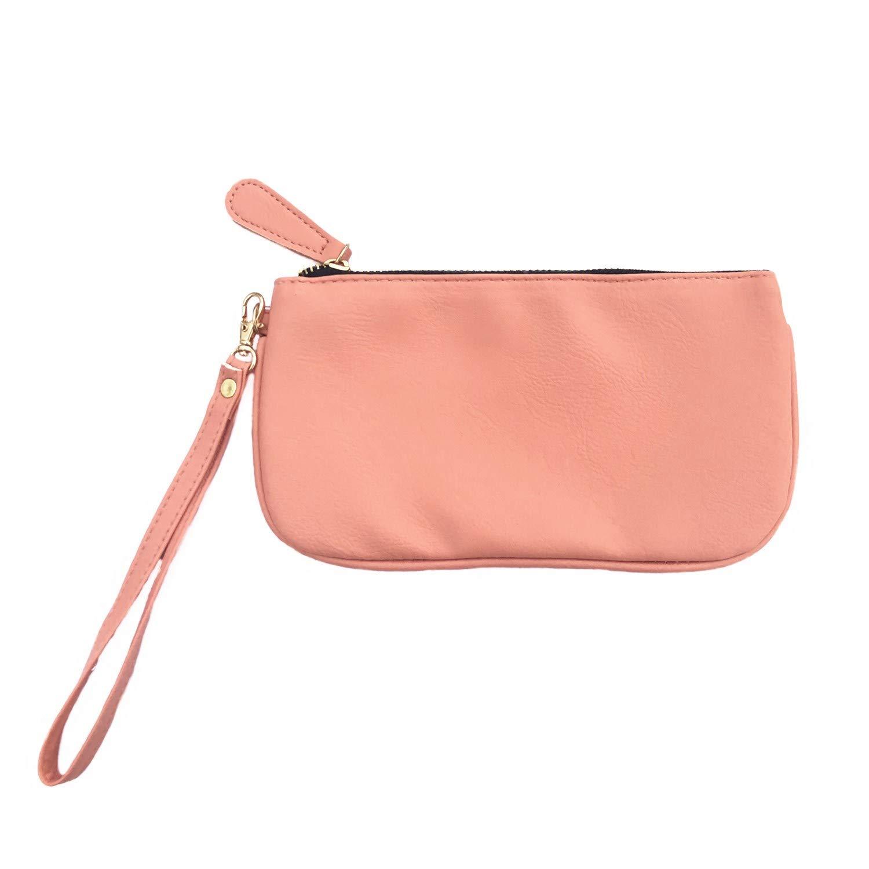 MONOBLANKS Leather Wristlet Wallet Small Phone Purse Handbag (Coral)