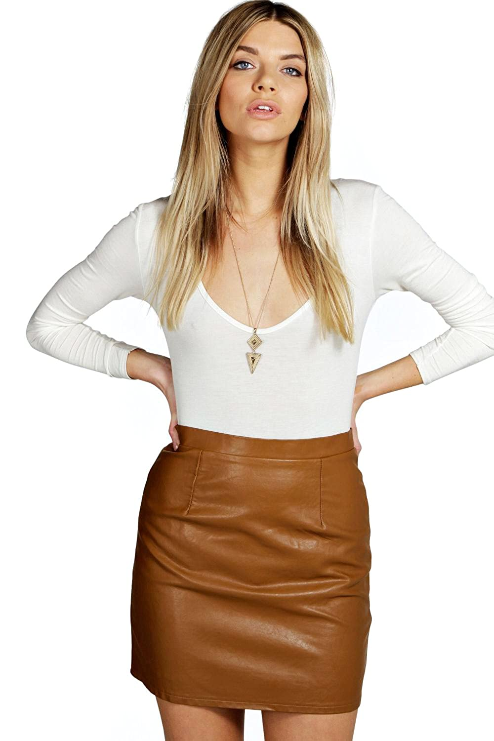 Tan Womens Haviva Leather Look A Line Mini